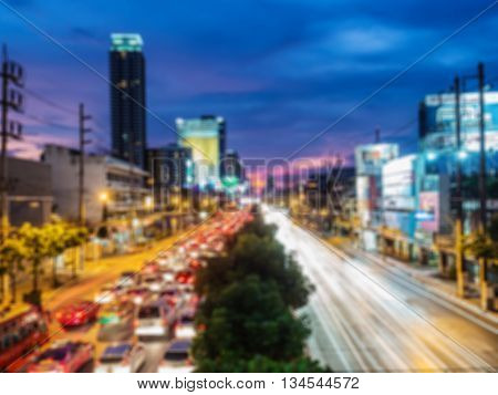 Blurry Background Of Many Cars Traffic Jam On The Road