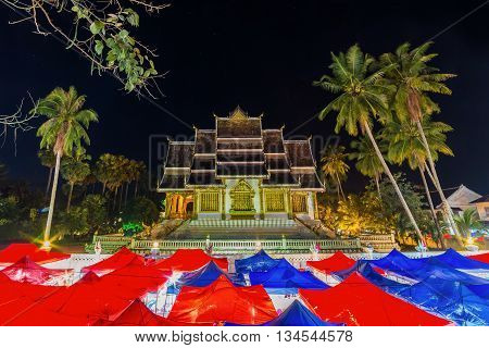 Night Souvenir Market In National Museum At Luang Prabang, Laos