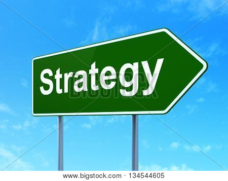 Business concept: Strategy on green road highway sign, clear blue sky background, 3D rendering