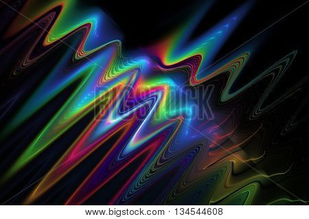 Color waves on black background. Abstract rainbow fractal texture. Fantasy design for greeting cards or t-shirts.