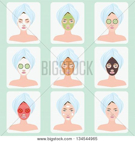 Beautiful woman with facial mask of cucumber slices tomato slice clay on face vector illustration.