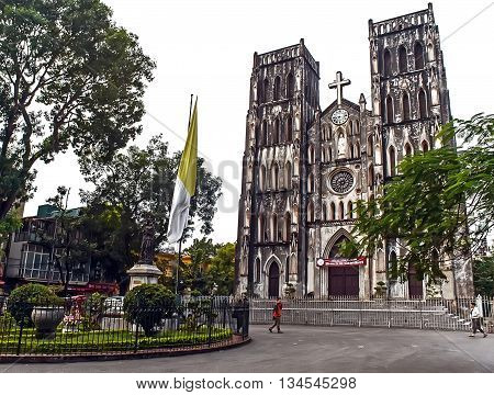 HA NOI, VIET NAM, dated 0 April 2016 ancient churches, architecture France, in the old quarter of Hanoi, cultural monuments national Vietnam