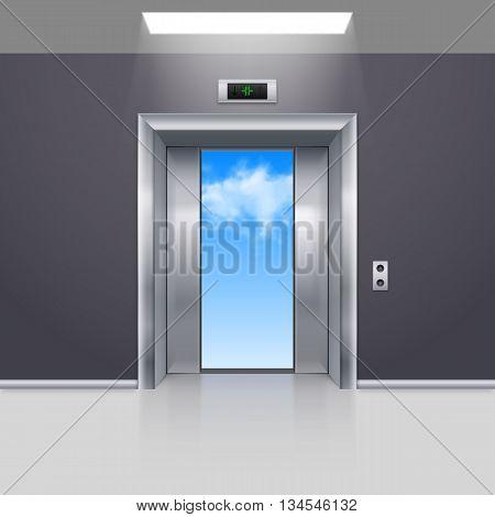 Half Open Metal Elevator Door to the Blue Sky