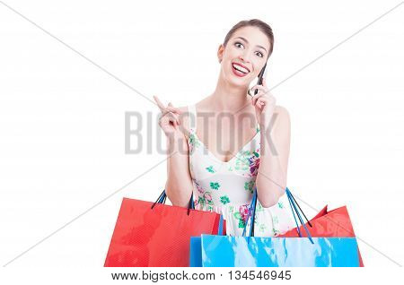 Pretty Lady Shopper Having A Call And Feeling Surprised