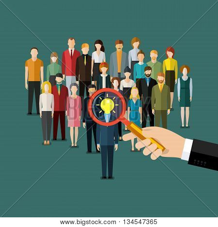 Business man hand holding magnifying glass for search a man with idea. Recruitment or selection concept. Flat vector illustration