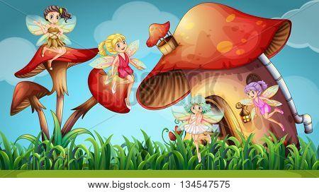 Fairies flying in the mushroom garden illustration
