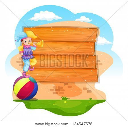 Board design with jester blowing horn illustration