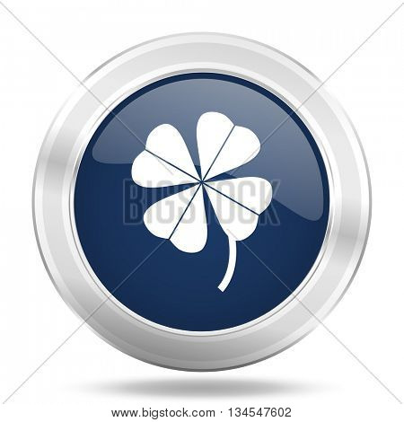 four-leaf clover icon, dark blue round metallic internet button, web and mobile app illustration