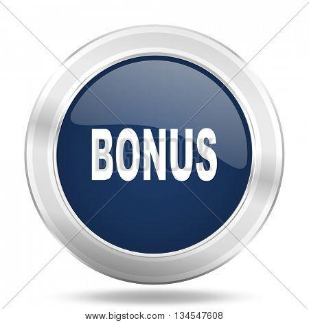 bonus icon, dark blue round metallic internet button, web and mobile app illustration