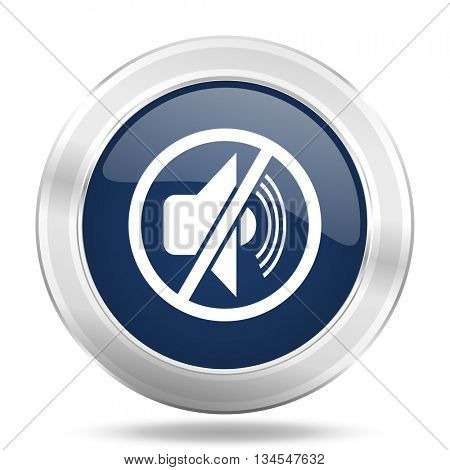 mute icon, dark blue round metallic internet button, web and mobile app illustration