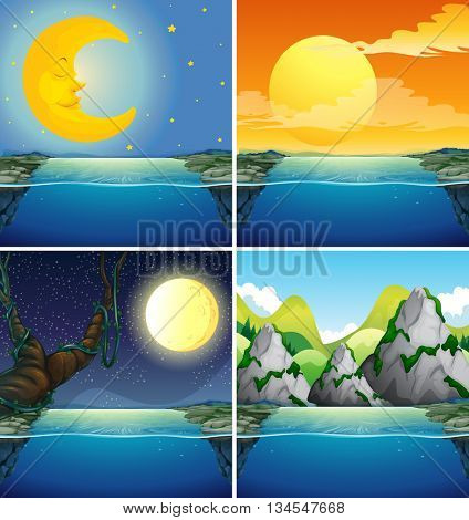 Nature scenes with moon at night illustration