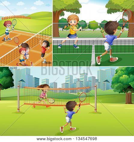 Kids playing tennis at the courts illustration