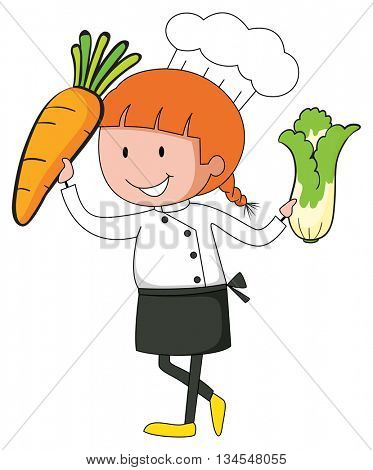 Chef holding carrot and lettuce in hands illustration