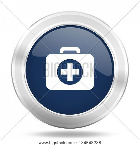 first aid icon, dark blue round metallic internet button, web and mobile app illustration