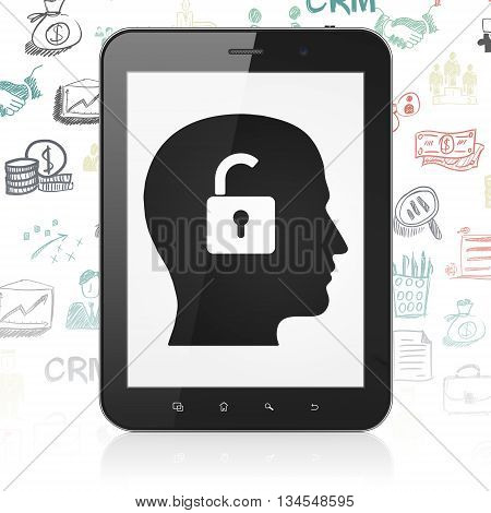 Finance concept: Tablet Computer with  black Head With Padlock icon on display,  Hand Drawn Business Icons background, 3D rendering
