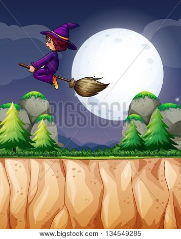 Witch flying on broom at night illustration