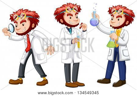 Three posts of male scientists in white gown illustration