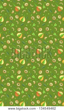 Seamless pattern with a bow. Quarters, half onion and pieces. Vector graphic arts