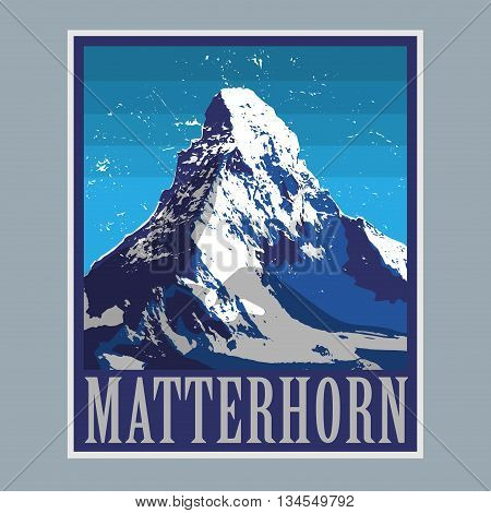Mount Matterhorn (Monte Cervino) - peak in the Alps mountain, adventure background, vector illustration