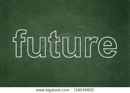 Timeline concept: text Future on Green chalkboard background