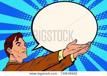 Retro businessman holding a comic bubble pop art vector. News message announcement