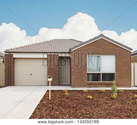 typical facade of a modern new suburban house