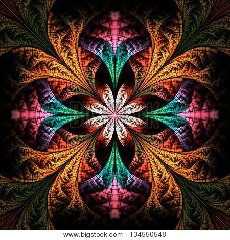 Abstract flower mandala on black background. Symmetrical pattern in green orange and pink colors. Fantasy fractal design for postcards wallpapers or clothes.
