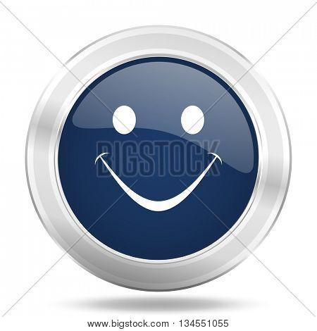 smile icon, dark blue round metallic internet button, web and mobile app illustration