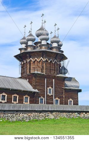 Wooden church on island Kizhi. Lake Onega Russia