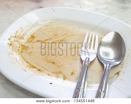 Empty Dish With Spoon And Fork After Food