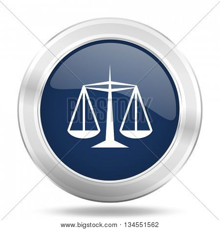 justice icon, dark blue round metallic internet button, web and mobile app illustration