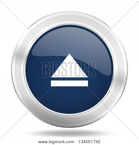 eject icon, dark blue round metallic internet button, web and mobile app illustration