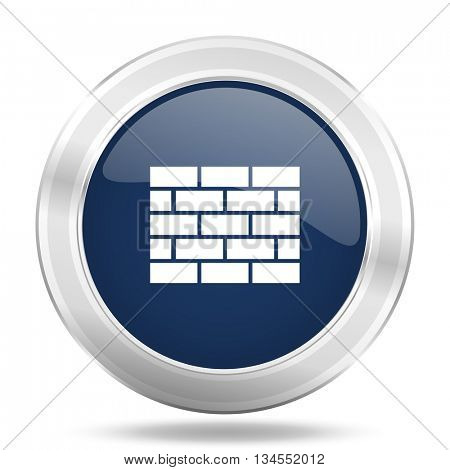 firewall icon, dark blue round metallic internet button, web and mobile app illustration