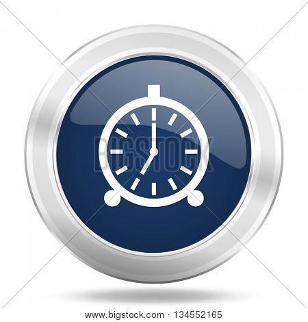 alarm icon, dark blue round metallic internet button, web and mobile app illustration