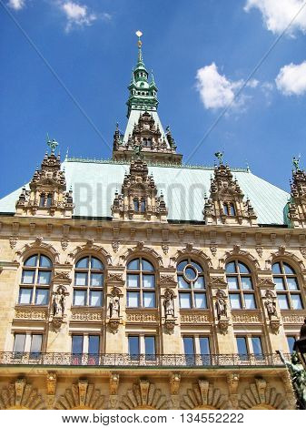 Hamburg town hall - view from the patio to the top.