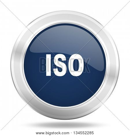 iso icon, dark blue round metallic internet button, web and mobile app illustration