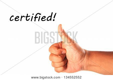 Hand with one thumb up with word certified isolated on white.