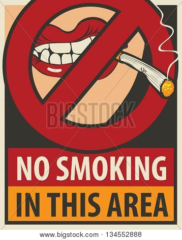 signboard no smoking in this area with a pattern of human lips and lit cigarette and negates the sign ban