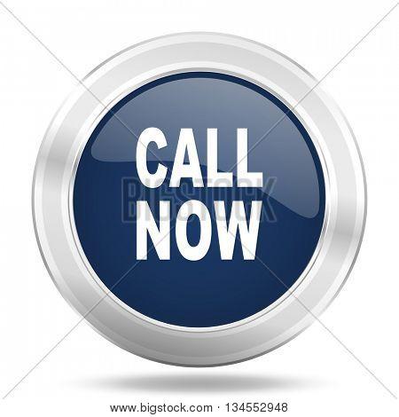 call now icon, dark blue round metallic internet button, web and mobile app illustration