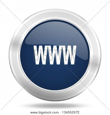 www icon, dark blue round metallic internet button, web and mobile app illustration