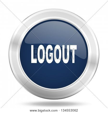 logout icon, dark blue round metallic internet button, web and mobile app illustration