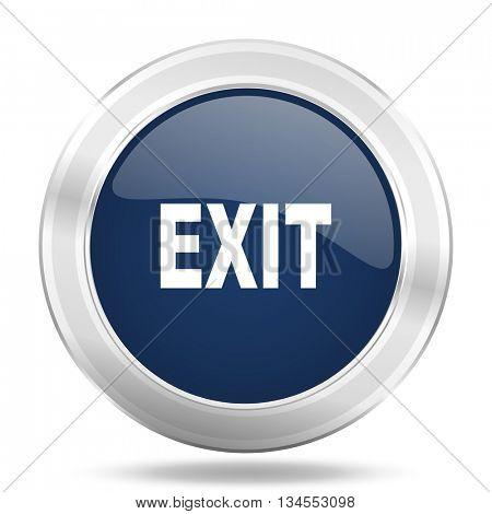 exit icon, dark blue round metallic internet button, web and mobile app illustration