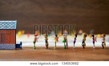 moscow russia - june 16 2016: other dolls - heroes of children's cartoon my little pony winx club . the dolls stand in a queue in a children's toy house