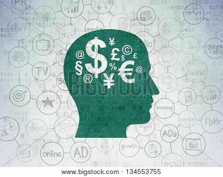 Advertising concept: Painted green Head With Finance Symbol icon on Digital Data Paper background with Scheme Of Hand Drawn Marketing Icons