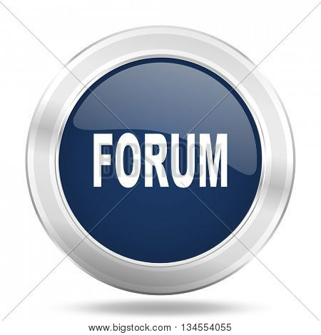 forum icon, dark blue round metallic internet button, web and mobile app illustration