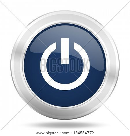 power icon, dark blue round metallic internet button, web and mobile app illustration