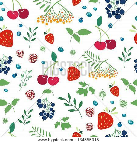 Seamless wallpaper pattern with berries. Seamless background with berries on a white background. Seamless pattern with strawberries. Wallpapers with natural decor in an organic style