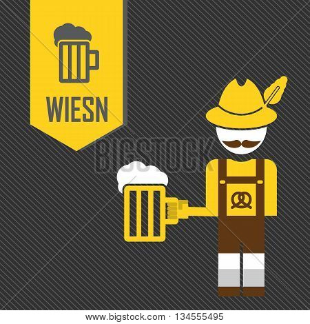 The Icon With The Man In The Bavarian Hat - German With A Mustache Holding A Mug Of Beer Greeting Ca