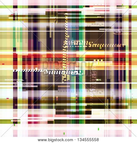 Abstract colorful wallpaper in the style of a glitch pixel. Colorful geometric pattern noise. Grunge, modern background with dead pixel and bug, glitch and error signal. Vector illustration