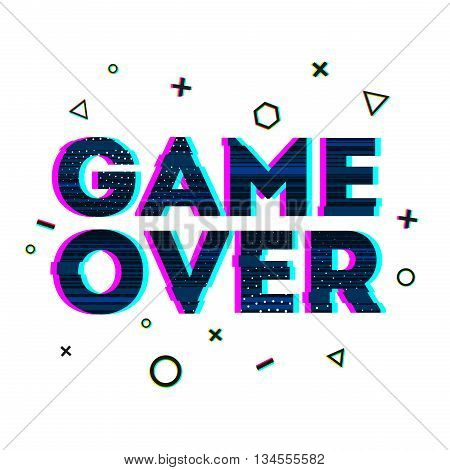 Word Game over in Ornamental design glitch and noise. Designs for banners, web pages, screen savers, presentations glitch style. Vector illustration